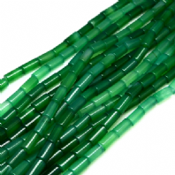 16 Inch Natural Green Agate 16x8mm Column Beads